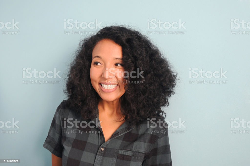 Young Hipster Woman Smiling stock photo