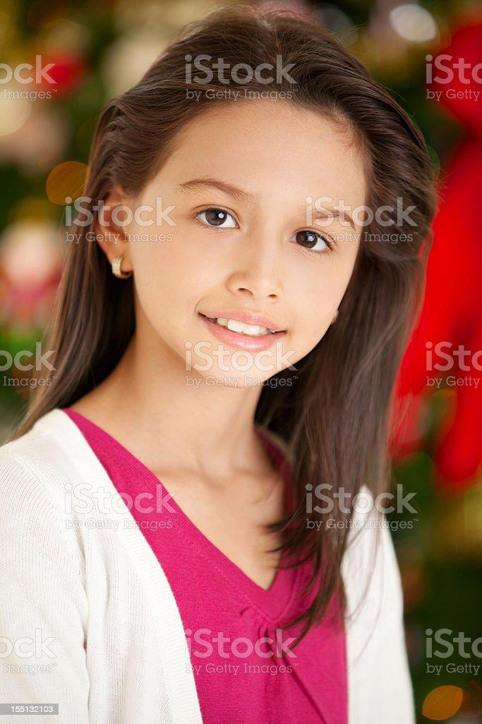 Young Hispanic Girl Holiday Portrait royalty-free stock photo
