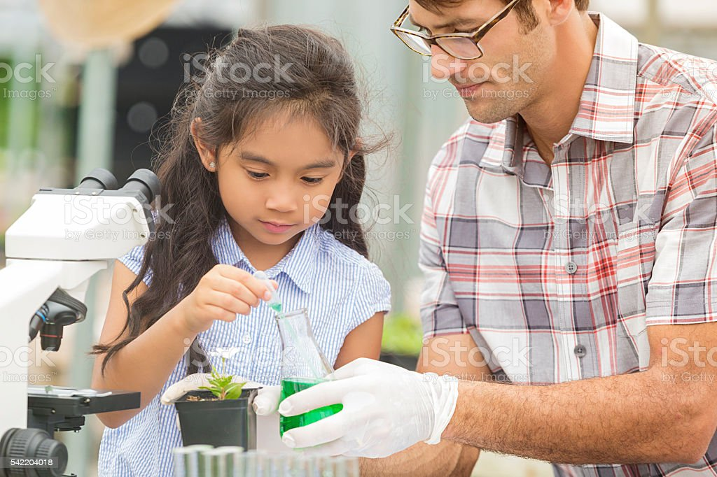 Young Hispanic Girl working on science project with her teacher stock photo