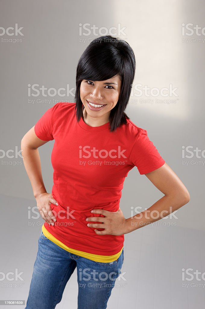 Young Hispanic model with red shirt royalty-free stock photo
