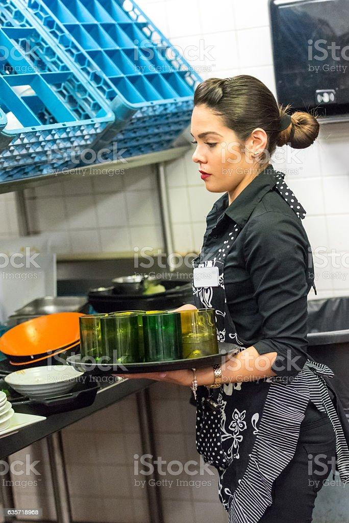 Young hispanic waitress stock photo