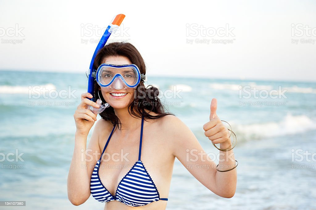 Young hispanic woman with underwater mask royalty-free stock photo