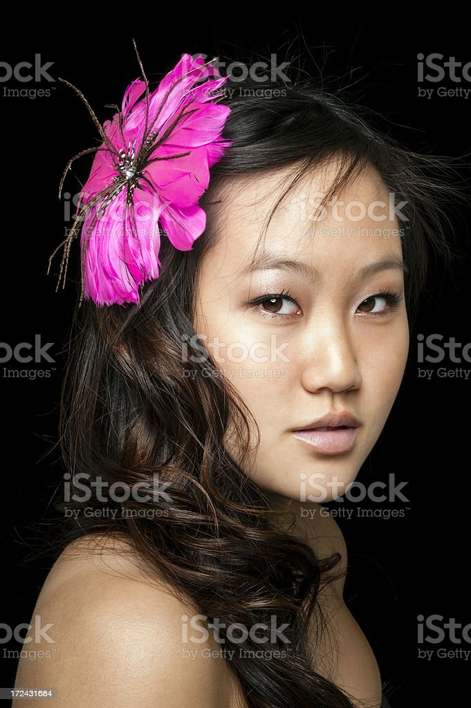 Young Hmong Woman with Flower in Hair royalty-free stock photo