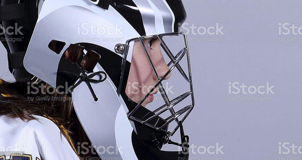 Young hockey goaltender profile royalty-free stock photo