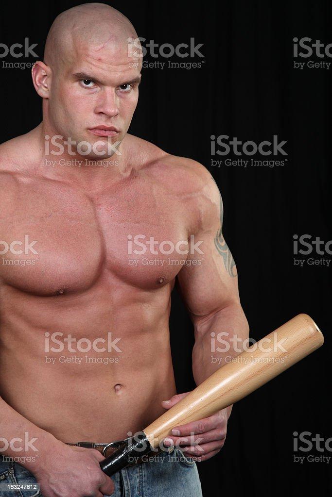 Young hooligan with baseball bat royalty-free stock photo