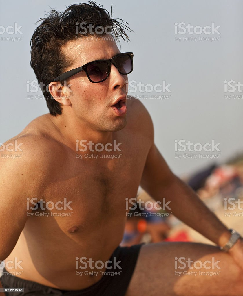 Young Indian beach wrestler stock photo