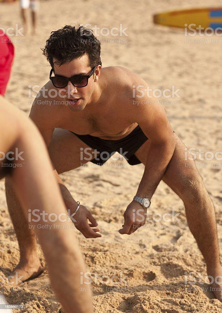 Young Indian beach wrestler stock photo