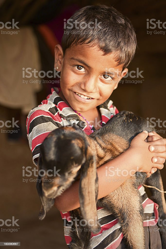 Young Indian boy holding a goat royalty-free stock photo