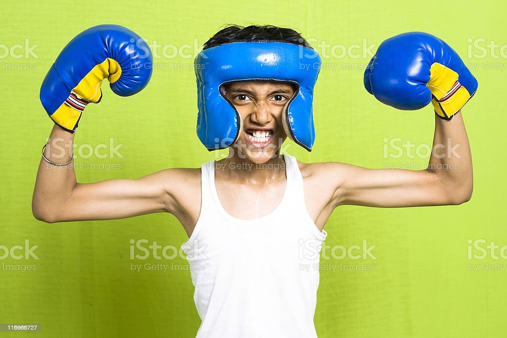 Young Indian Boy posing as a Boxer royalty-free stock photo