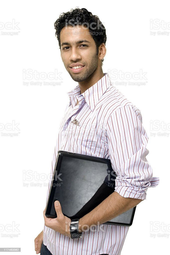 Young Indian Businessman Student with Laptop Isolated On White royalty-free stock photo