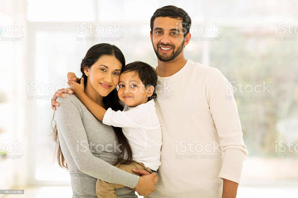 young indian family portrait stock photo