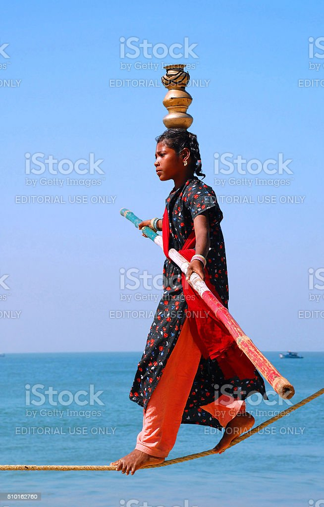 Young Indian Ropewalker stock photo