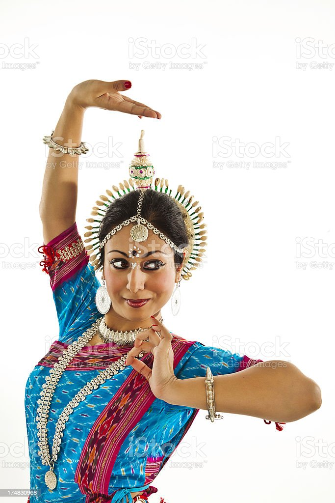Young Indian Woman Dancer in Traditional Sari royalty-free stock photo