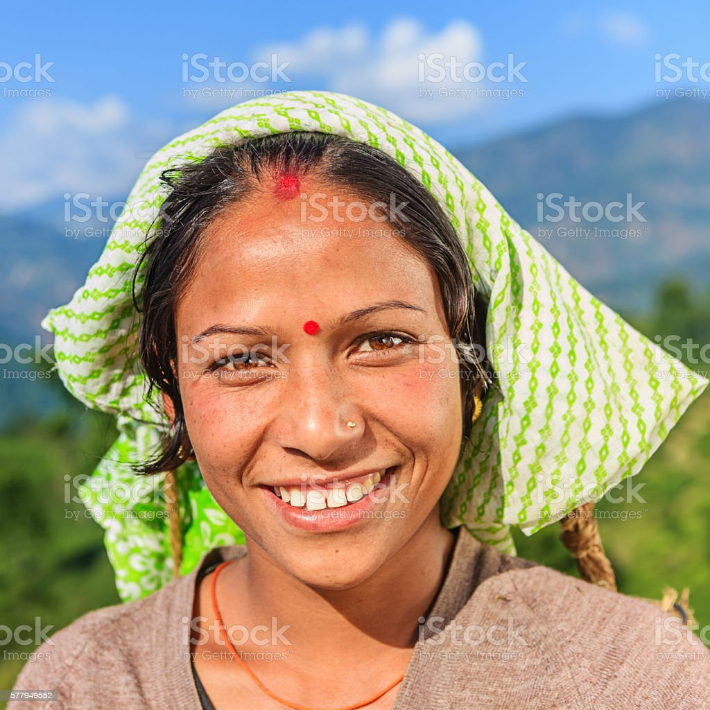 Young Indian woman in Darjeeling, India stock photo