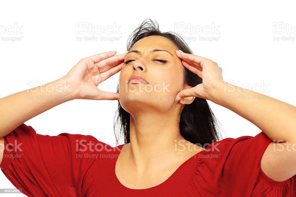 young Indian woman in pain from a headache royalty-free stock photo