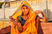 Young Indian woman in village near Jaipur, India