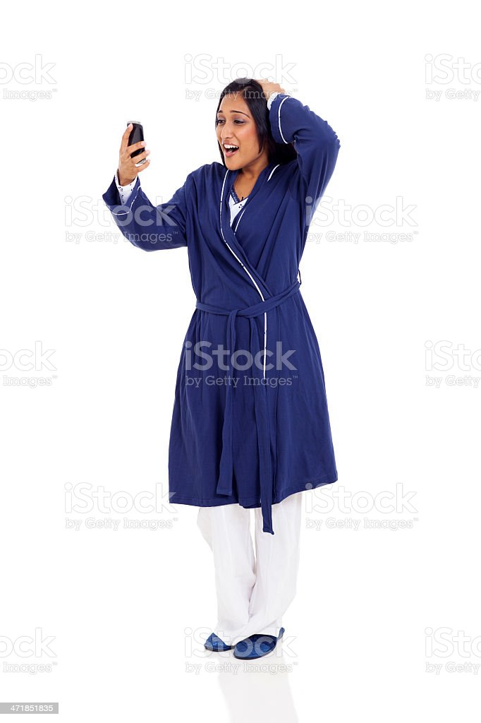 young indian woman late for work royalty-free stock photo