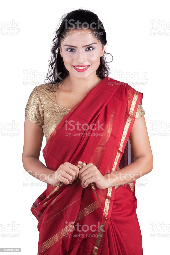 Young indian woman wearing traditional dress stock photo