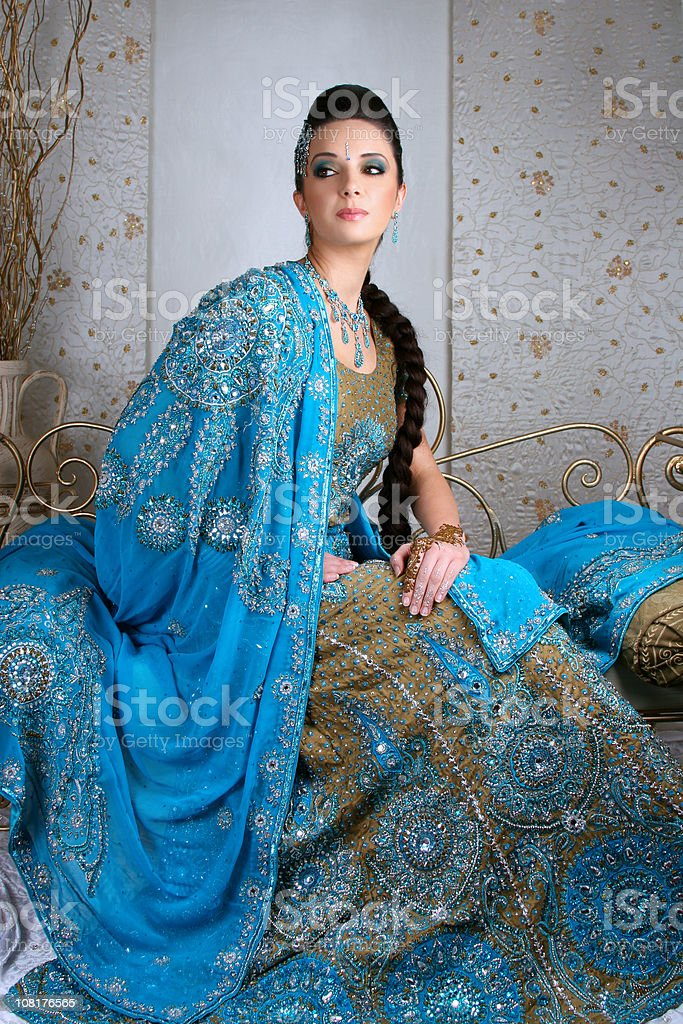 Young Indian Woman Wearing Traditional Ornate Dress royalty-free stock photo