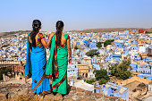 Young Indian women looking at the view, Jodhpur, India
