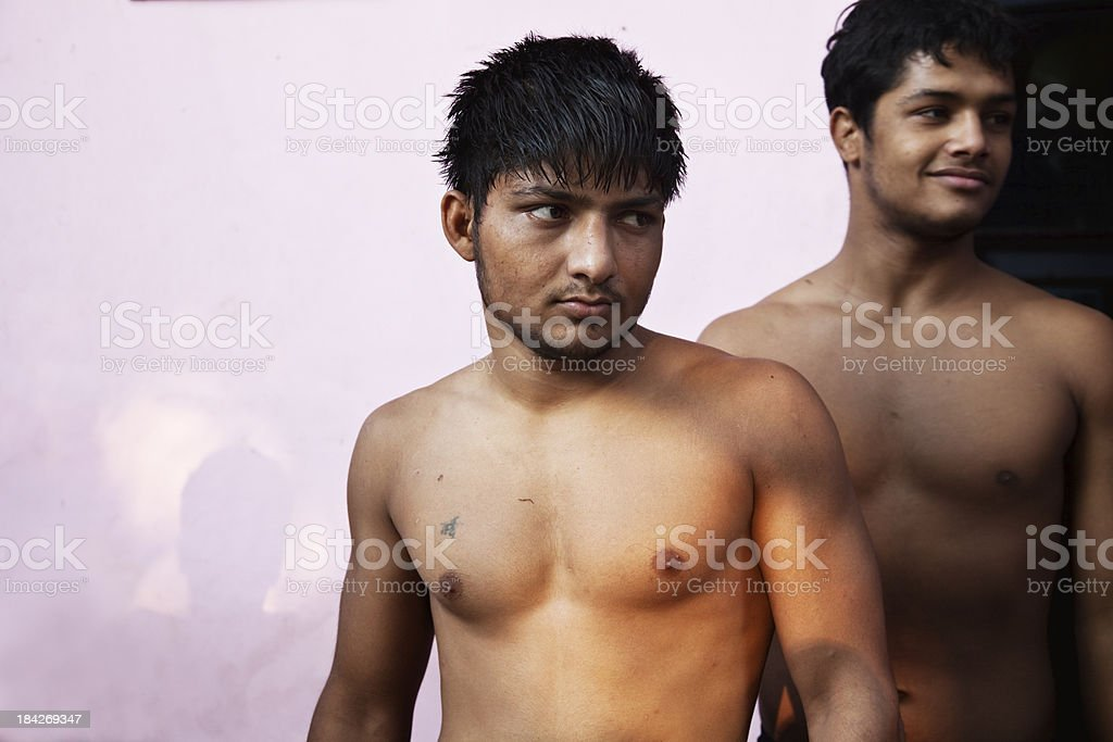 young indian wrestlers stock photo