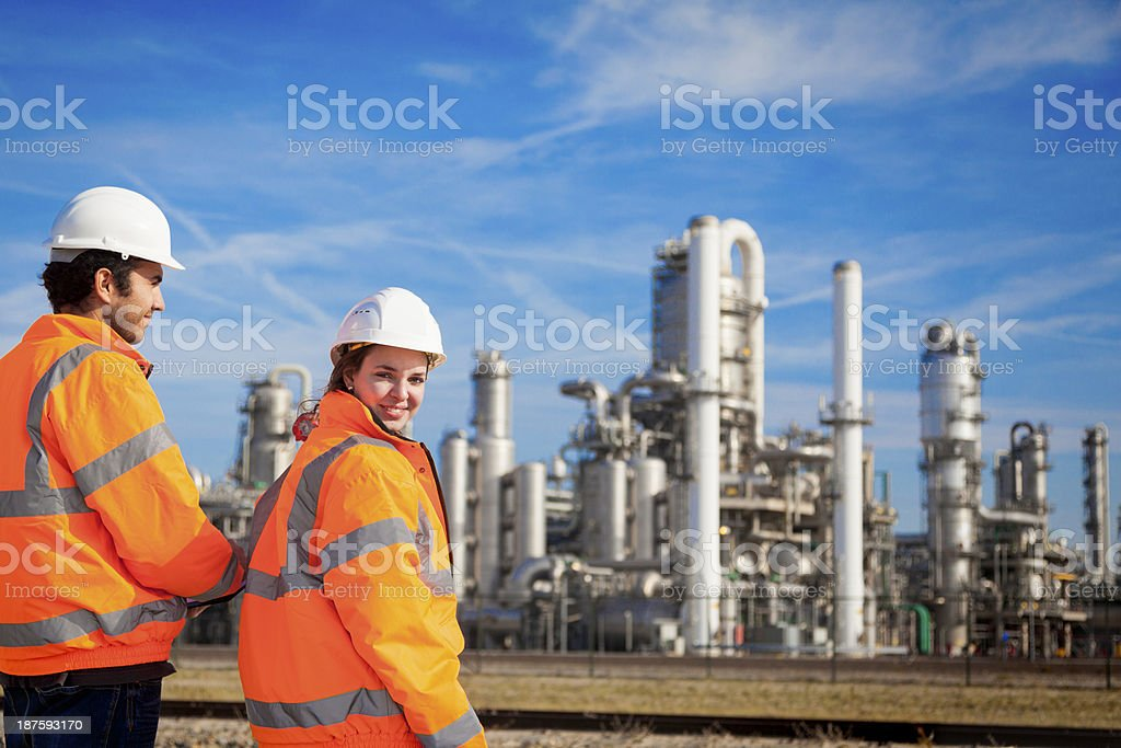 Young industrial workers stock photo