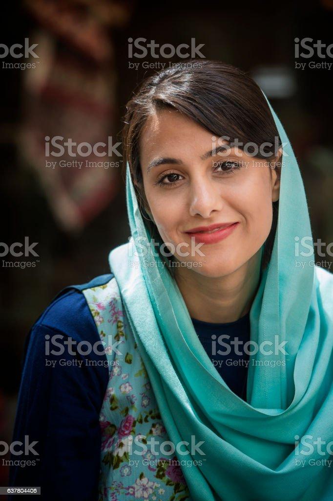 Young iranian woman wearing a headscarf, Isfahan, Iran stock photo