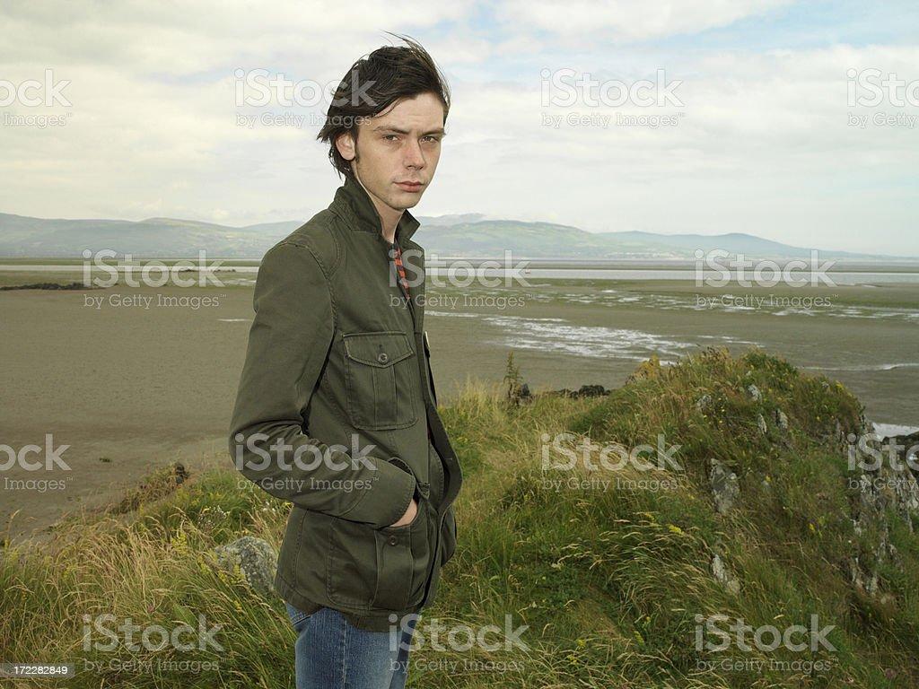 young irish man at the beach stock photo