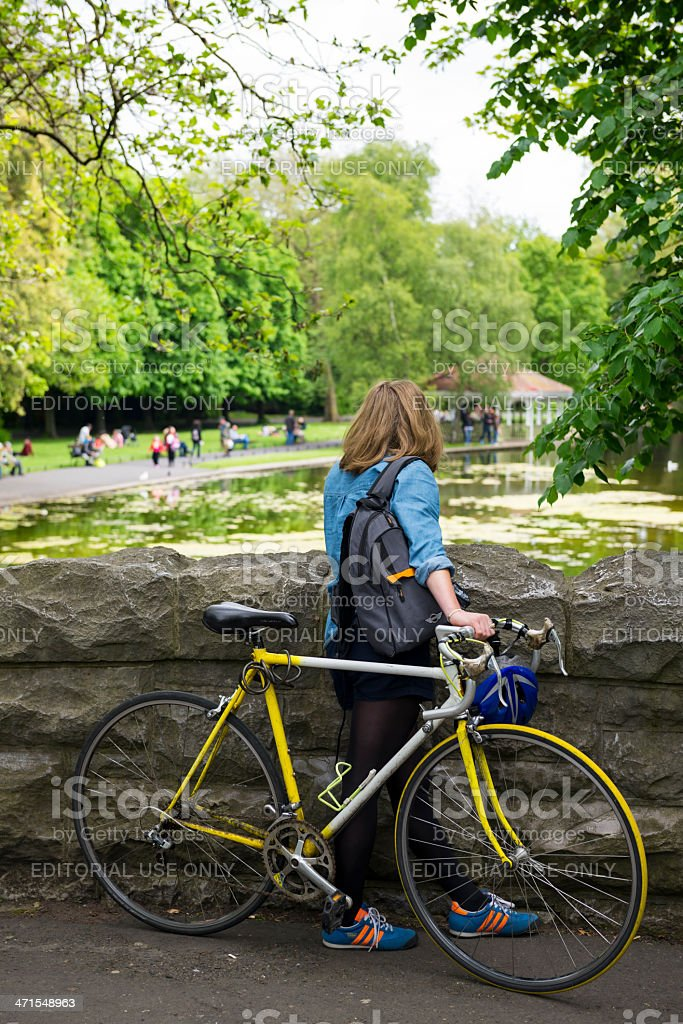 Young Irish woman at St. Stephen's Green in Dublin stock photo