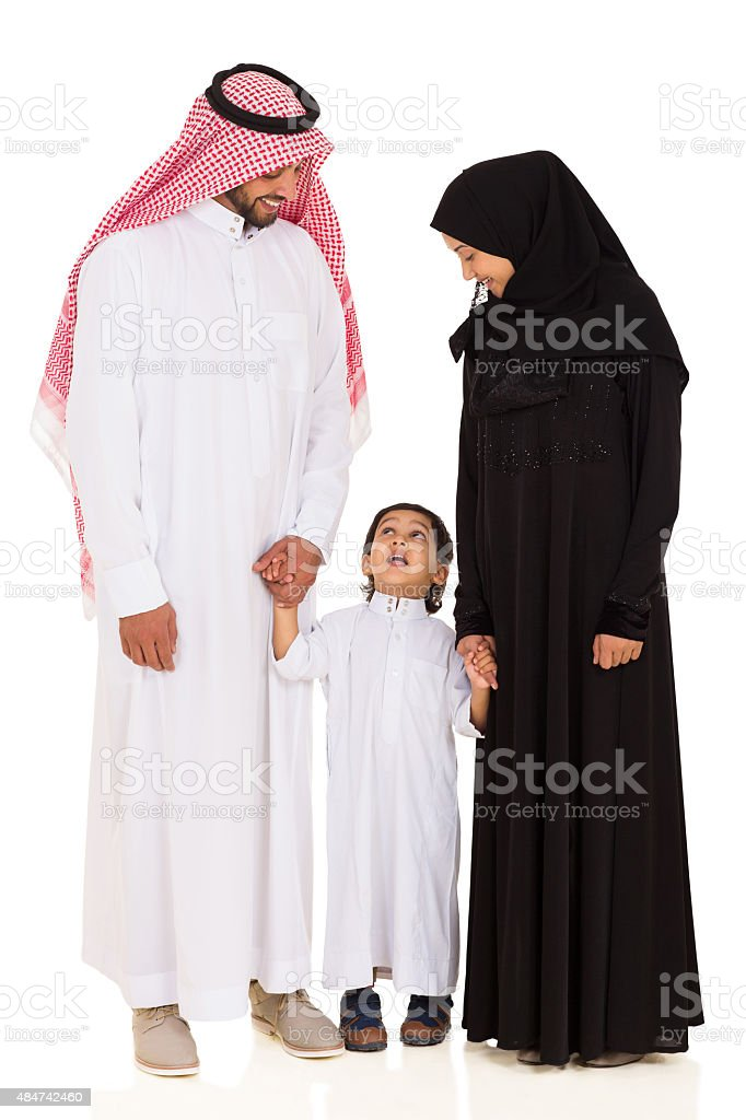 young islamic family on white stock photo