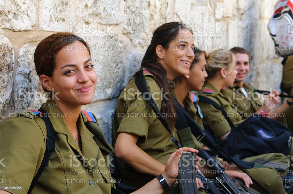 Women IDF soldiers stock photo