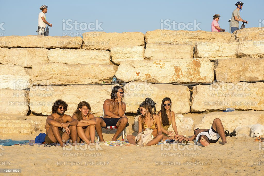 Young Israelis at the beach royalty-free stock photo