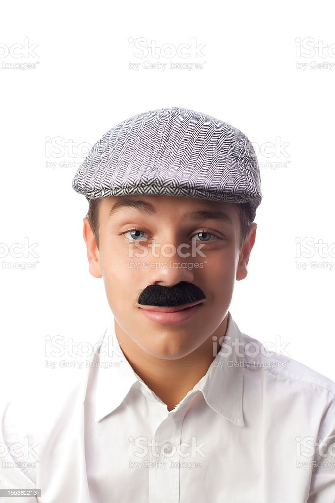 Young Italian Boy Winking with Mustaches and Coppola royalty-free stock photo