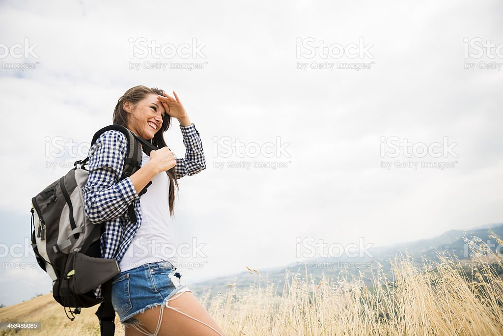 Young italian woman walking in the nature royalty-free stock photo