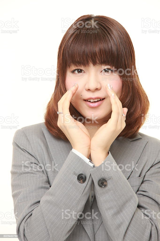 young Japanese businesswoman shout something stock photo