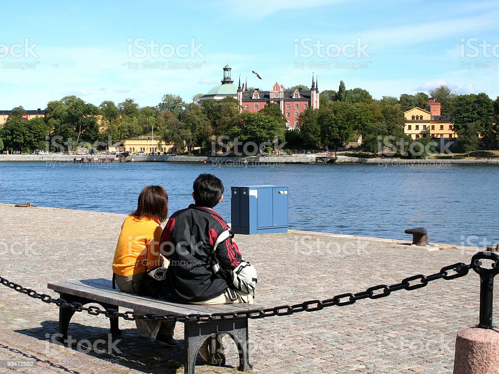 Young japanese couple in Stockholm royalty-free stock photo