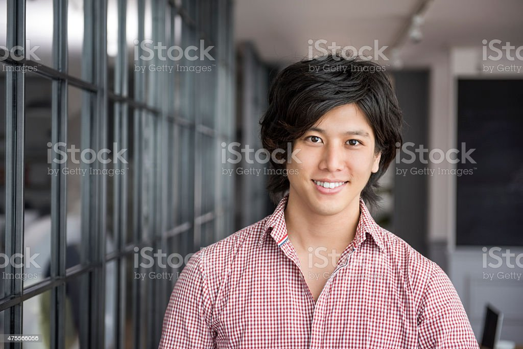 Young Japanese man portrait stock photo