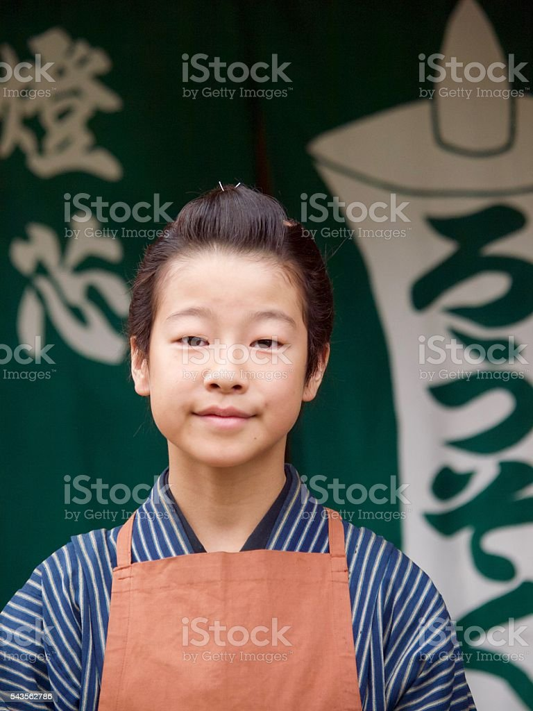 Young japanese merchant in Edo period stock photo