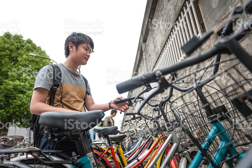 Young japanese students parking bcycles in,Kyoto, Japan stock photo