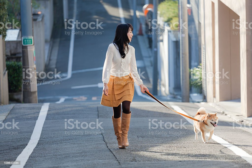 Young Japanese Woman Walking Leashed Shiba Inu Dog on Street royalty-free stock photo