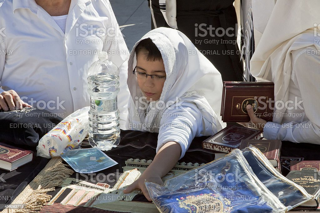 Young jewish boy in Jerusalem during holiday stock photo