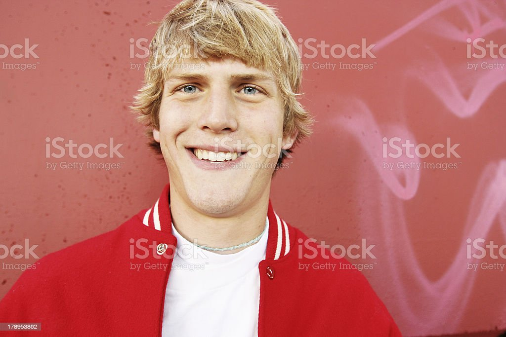 Young Jock in Red Letterman Jacket stock photo