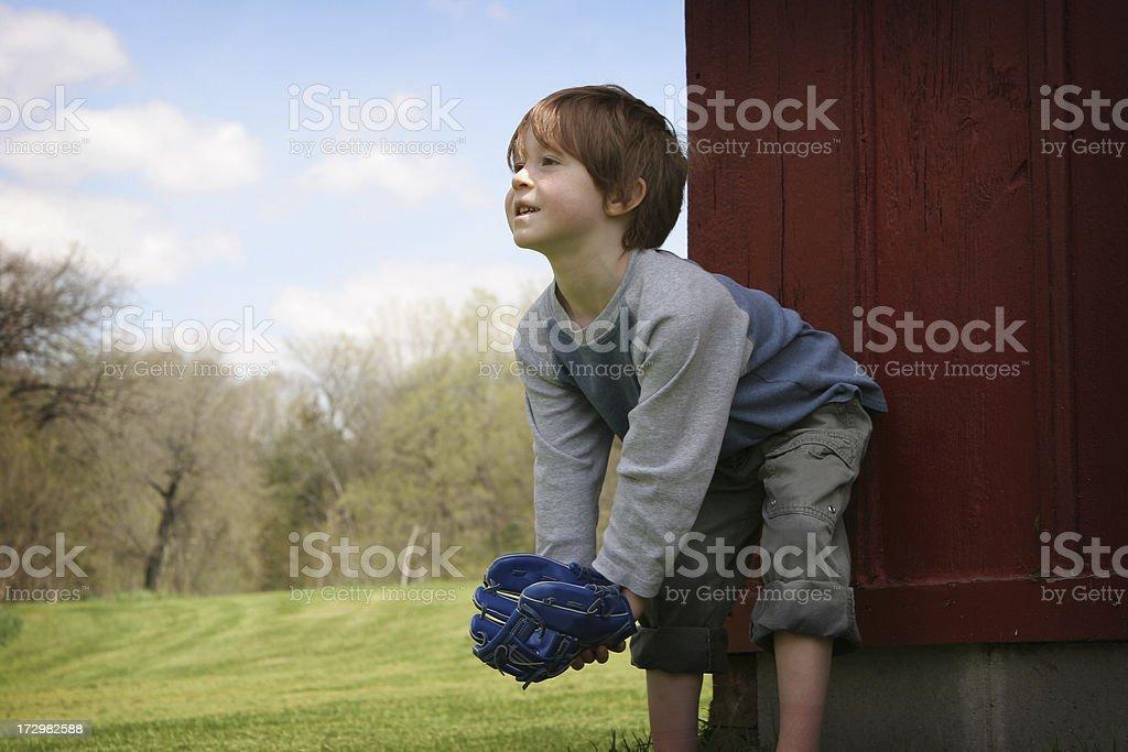 Young Joyful Boy with Baseball Glove royalty-free stock photo