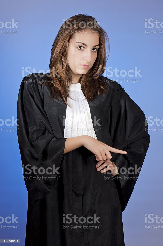 Young judge enforcing law stock photo