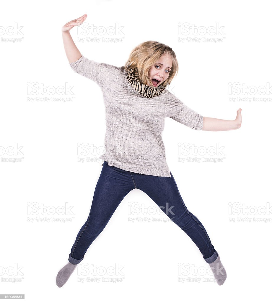 young jumping woman royalty-free stock photo