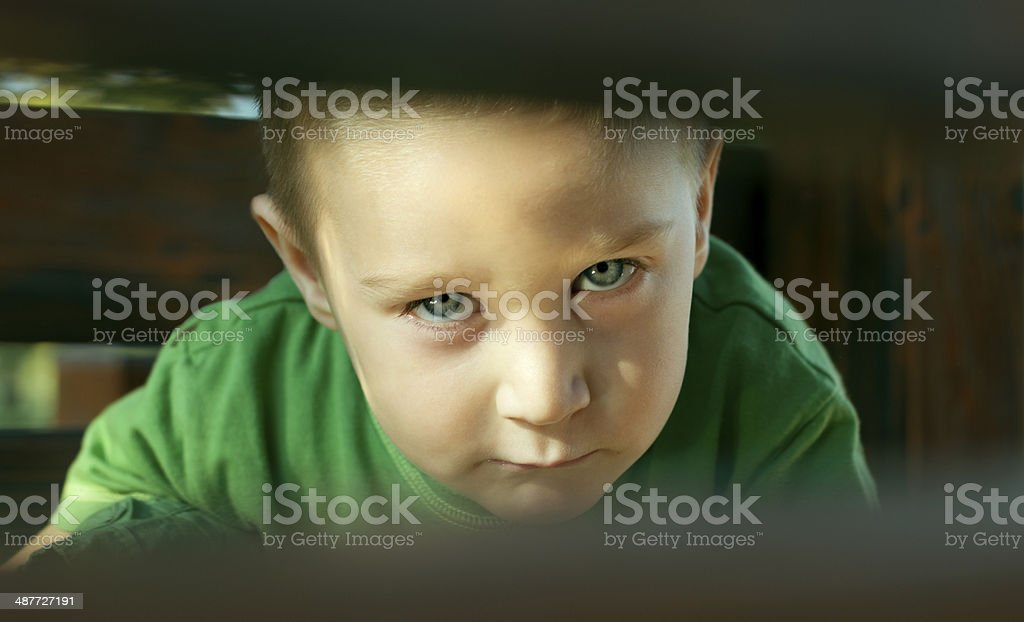 Young kid gives an attitude stock photo