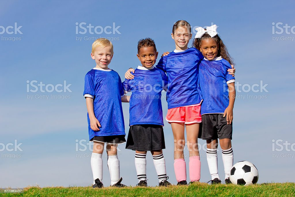 Young Kids on a Soccer Team stock photo