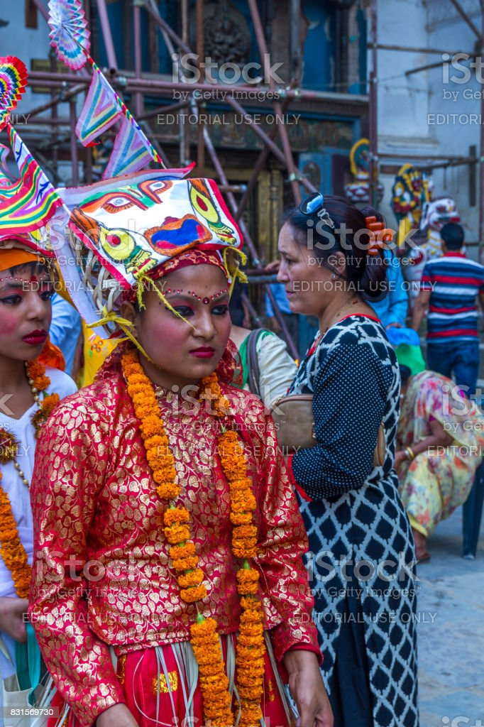 Young Kids on Gaijatra Festival in Kathmandu Nepal (The Festival of Cows) stock photo