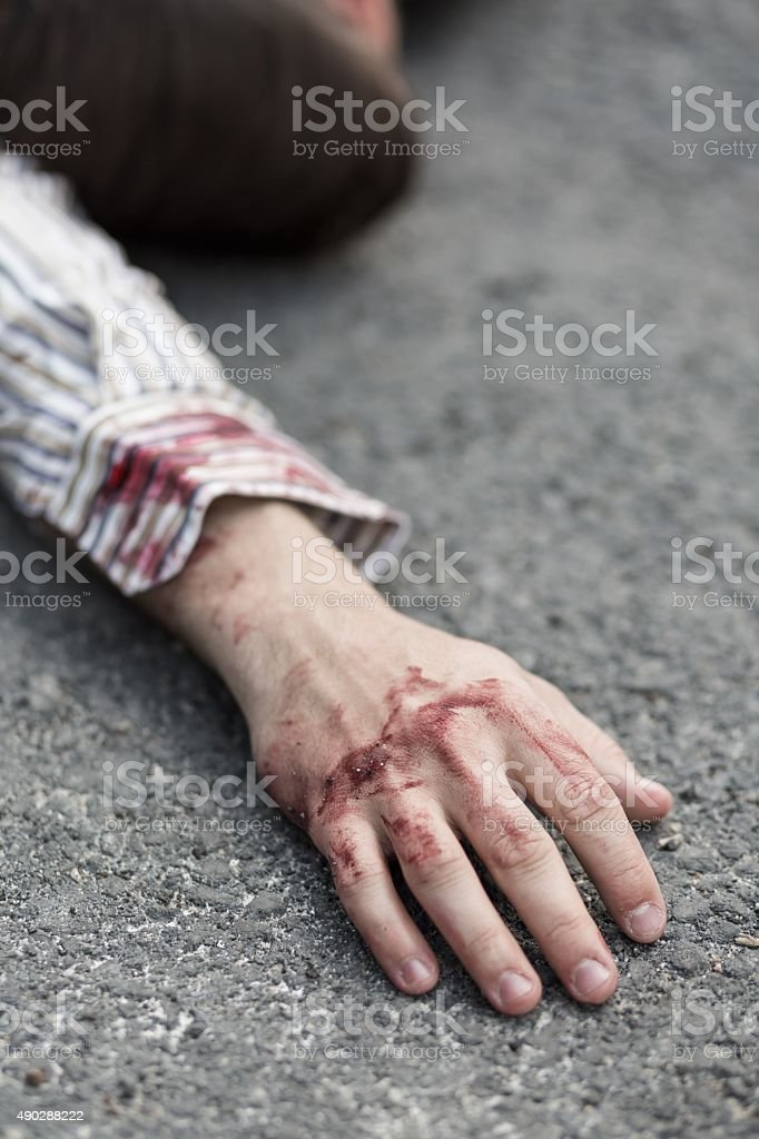 Young killed man stock photo