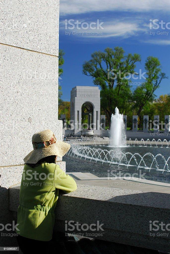 Young Lady at World War II Memorial royalty-free stock photo